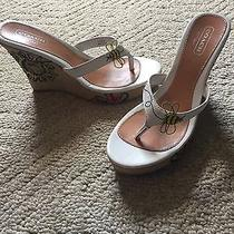 Coach Size 8 Flower Bee Wedge White Shoes Photo