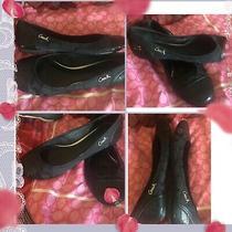 Coach Size 8 M Black Sequin & Monogram Ballet Flats Shimmer Black Barely Worn Photo