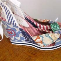 Coach Size 8 Shoes Heels Sandals Fabric Logo Print Colorful Authentic Designer Photo