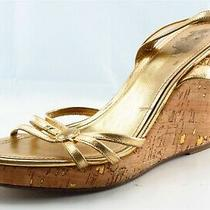 Coach Size 9 B Gold Ankle Strap Leather Women Sandal Shoes  Photo
