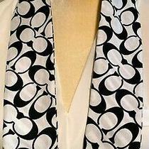 Coach Skinny Pony Tail Scarf Signature C Logo Reversible Black & White Photo