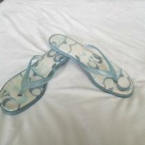 Coach Slide Blue Sandals Tiny Heel Size 8.5 Photo