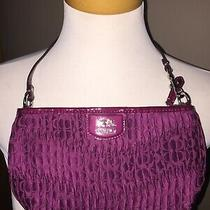 Coach Small Berry Burgundy Satin Handbag Wristlet Photo