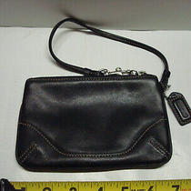 Coach Small Black Color Leather Wristlet. Photo