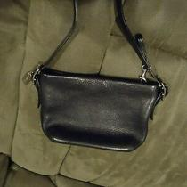 Coach Small Black Leather With Silver Buckles Shoulder Bag Vintage Photo