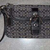Coach Small Black Signature Fabric & Leather Buckle Flap Wristlet Photo