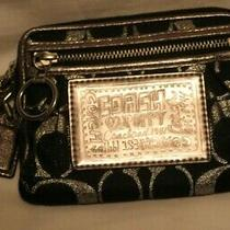 Coach Small Black Silver Taupe Wristet Purse. 6 X 4.  Photo