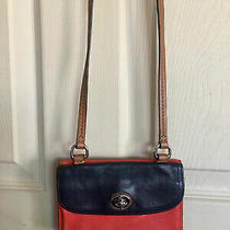 Coach Small Blue Red and Tan Leather Crossbody Wallet Bag Purse Photo