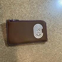 Coach Small Brown L-Zip  Credit Card Case Reflective Coach Patch Photo