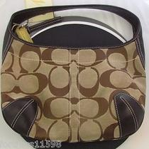 Coach Small Hobo Signature Handbag Brown & Tan  Photo