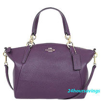 Coach Small Kelsey Aubergine Purple Leather Satchel Crossbody Handbag 36675 Photo