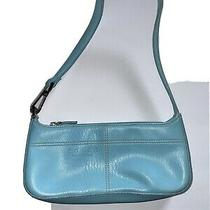 Coach Small Light Blue Pebbled Leather Zip Purse Shoulder Bag Photo