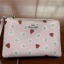 Coach Small Mini Wristlet Pink and Gray Heart Print Zip Signature Leather Wallet Photo