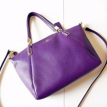 Coach Small Pebble Leather Kelsey Satchel Crossbody Tote Handbag in Violet Photo