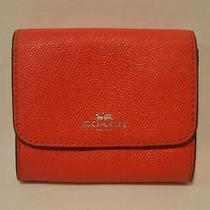 Coach Small Red Wallet With Snap Closure Credit Card Slots & Zip Coin Pocket Photo