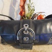 Coach Small Soho Flap Buckle Black Leather Bag Purse 8a05 Photo