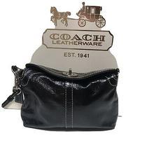 Coach Small Wristlet Handbag Pouch Black Patten Leather Turnlock. Photo