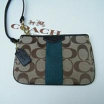 Coach Small Wristlet in Khaki Signature and Teal Stripe Nwot Photo