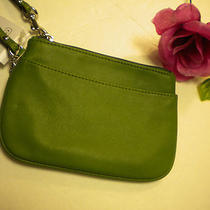 Coach Small Wristlet Leather in Green/silver Nwt Photo