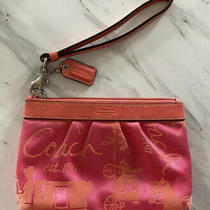 Coach Small Wristlet Pink Orange Canvas Great Condition Clutch Photo