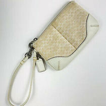 Coach Small Wristlet Signature Canvas Wallet Ivory Photo