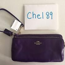 Coach Smooth Leather Double Zip Wallet Violet Purple Retail 135 New Nwt Photo