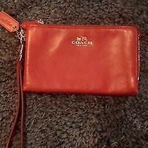 Coach Smooth Leather Double Zip  Wristlet Wallet  Classic Red / Gold F64581 Photo
