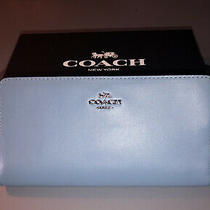 Coach Smooth Leather Skinny Wallet Clutch58586 Stone Blue Nwt Photo