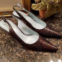 Coach Snakeskin Slingback Shoes Brown Size 8 Photo