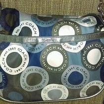 Coach Snaphead Messenger Diaper Bag Creed  F18377 Blue Gray White Super Nice  Photo