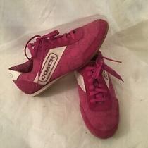 Coach Sneakers Pamela Suede Signature  Pink & White  Size 8m (A1320) Photo