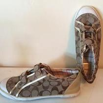 Coach Sneakers Size 9.5 Gold and Tan Print Photo