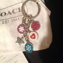 Coach Snowflake & Heart Multi Mix Key Ring Fob With Dust Bag & Receipt F62725 Photo
