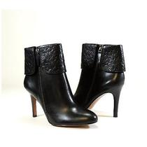 Coach Soft Black Leather Mackenna Embossed Logo Cuff Boots Booties 6.5 Photo
