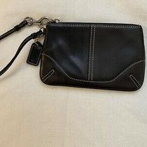 Coach Soft Black Leather Wristlet Clutch Zip Closure Wallet 6.5 X 4.25 Photo