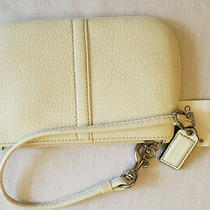 Coach Soft Pebble Leather Small Wristlet - Brand New With Tags - Cream Photo