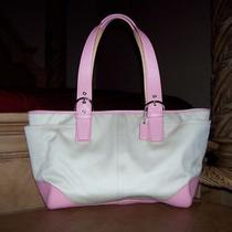 Coach Soho Big Pink Leather & White  Multifunction Tote Baby Diaper Bag Purse  Photo