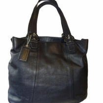 Coach Soho Black Leather North South Large Tote Handbag Photo