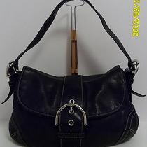 Coach Soho Black Leather Satchel Flap Handbag  Photo