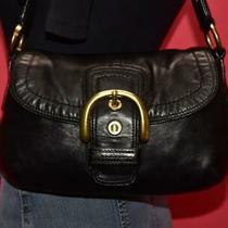 Coach Soho Black Leather Shoulder Bag Hobo Shopper Buckle Flap Purse 11840 Photo