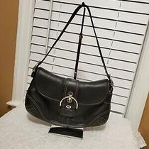 Coach Soho Black Leather Silver Buckle Flap Hobo Shoulder Bag Purse E0778-F10910 Photo