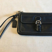 Coach Soho Black Leather Wristlet Wallet Buckle Design With Snap Front Pocket Photo