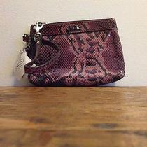 Coach Soho Embossed Exotic Madison Python Purple Wristlet Leather F46493 Photo