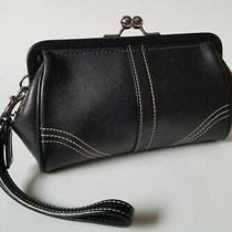 Coach Soho Framed Kisslock Wristlet Clutch Bag Black Leather 40573 Photo