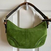 Coach Soho Hobo Shoulder Bag Green Suede Leather Purse Small Photo