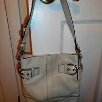 Coach Soho Ivory/off White Leather Buckle Accents Hobo Shoulder Bag Purse Photo