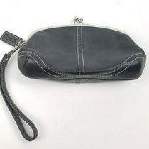 Coach Soho Kisslock Black Leather Framed Wristlet Clutch Purse Cosmetic Wallet Photo