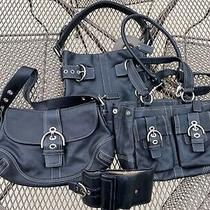Coach Soho Leather 4 Piece Black Purse Satchel Crossbody Handbag Wallet Set Wow Photo