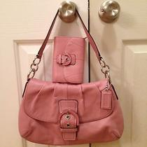 Coach Soho Leather Flap Shoulder Bag Blush F17217 With Matching Wallet Photo