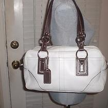 Coach Soho Leather Satchel Purse White Brown K0693-10580  Photo